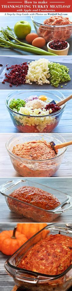 Step-by-Step: Thanksgiving Turkey Meatloaf with Apple and Cranberries // wishfulchef.com