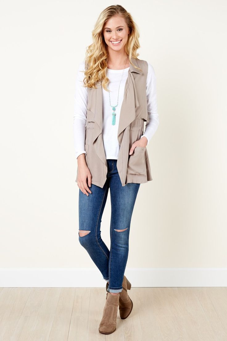 BB Dakota Commuter Chic Khaki Vest at reddressboutique.com