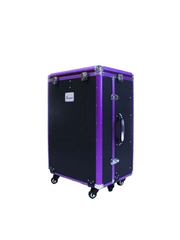 DivaDolly in Black with a Pop of Purple Trim | Rolling Dance Bag Alternative with a Wardrobe Rack