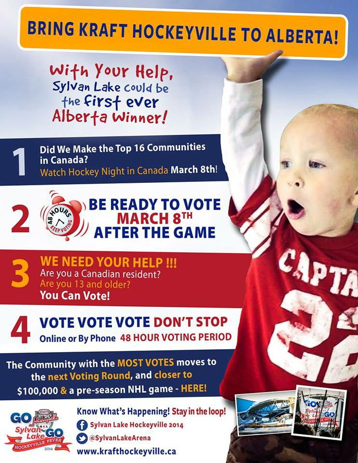 Here are the days you need to watch!! March 8th during Hockey Night in Canada! Then vote, vote vote! Help us to achieve our goal! Sylvan Lake for Kraft Hockeyville 2014! We could be the first to bring the Kraft Hockeyville Title and Cup to Alberta. Sylvan Lake is the 'Ultimate' Canadian Hockey Town and we've got the Community Spirit! We need your help! Vote for us! Let's bring it home! www.krafthockeyville.com