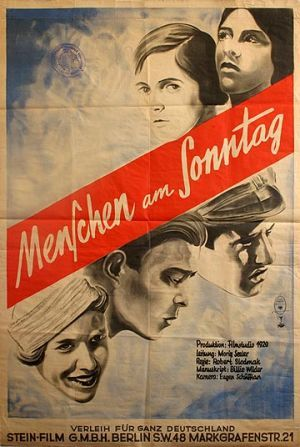 People on Sunday (Robert Siodmak, 1929), important in both German and American cinema as many of its personnel later worked in Hollywood, this documentary-style drama accurately portrays daily life in Weimar Germany. Find this at 791.43743 PEO