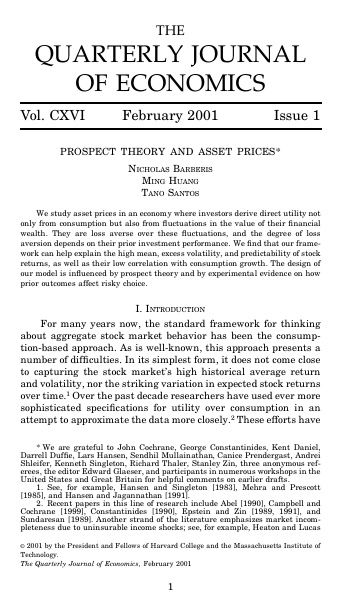 PROSPECT THEORY AND ASSET PRICES