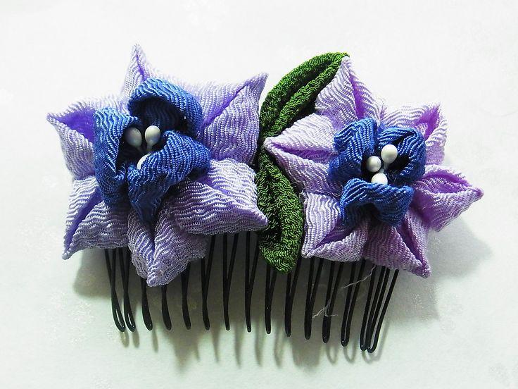 Tsumami Kanzashi flower hair comb  Kimono Japanese Chirimen - daffodil (light purple-blue) by chirimenbunny on Etsy