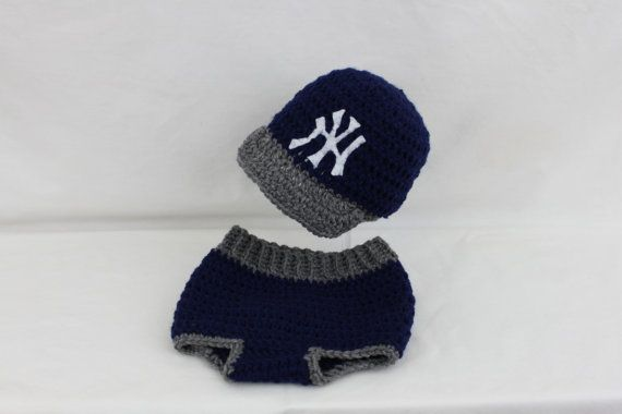 NY BaseBall Hat and Diaper Cover by kernscraftcorner on Etsy, $35.00