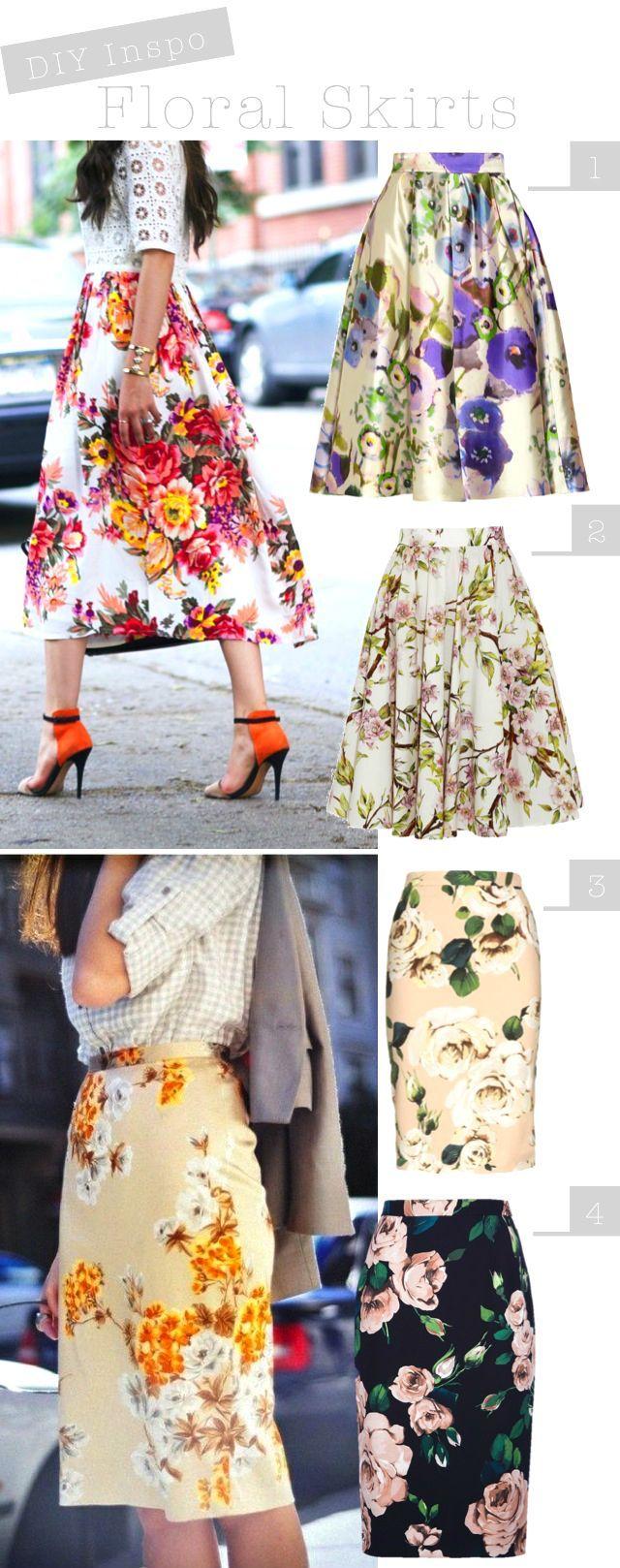 DIY Inspo: Floral Skirts - Faldas con estampado de flores (scheduled via http://www.tailwindapp.com?utm_source=pinterest&utm_medium=twpin&utm_content=post19109276&utm_campaign=scheduler_attribution)