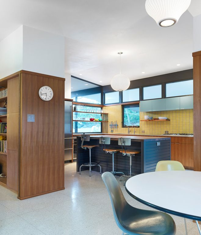 A Midcentury kitchen renovation featuring our Tile in Daffodil via Dwell