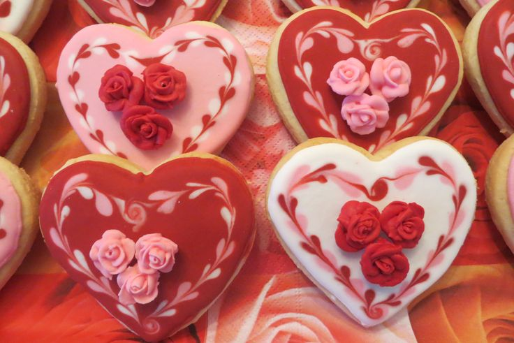 Valentijn koekjes 'hart met roosjes'