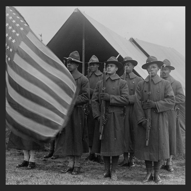 "Black Army Military soldiers, 1917 photo, American Flag, Rifles, guns, 16""x16"""