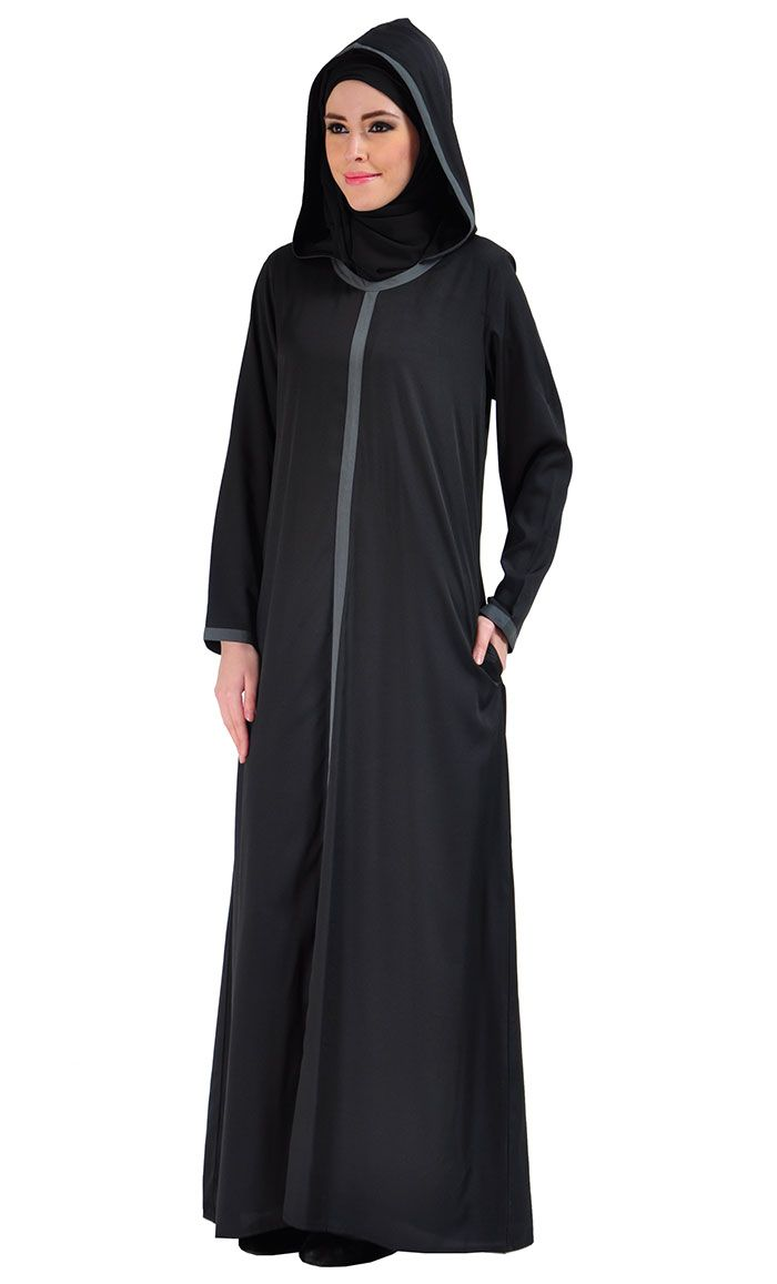 Hooded Crepe Abaya Dress - Black