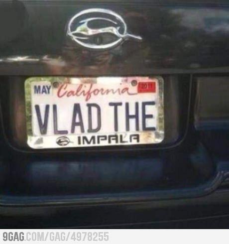 Vlad the Impala :) GET IT?!: Vlad, Impala, License Plates, Funny Stuff, Humor, Funnies, Photo