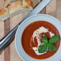 Roasted tomato, garlic and chili soup.