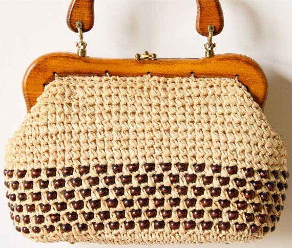 de los años 60 bolsa tejida minimalista de madera manejar