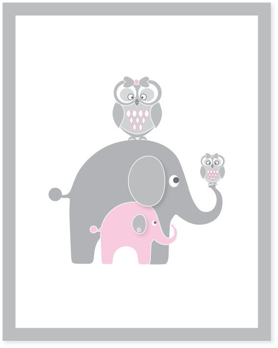 11X14 pink and gray elephant nursery wall art, girls wall prints, owl, childrens wall decor, kids art pictures for baby and toddlers