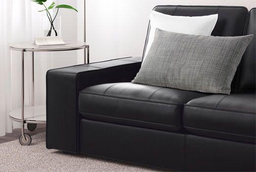 Canapé 2 places en cuir noir IKEA
