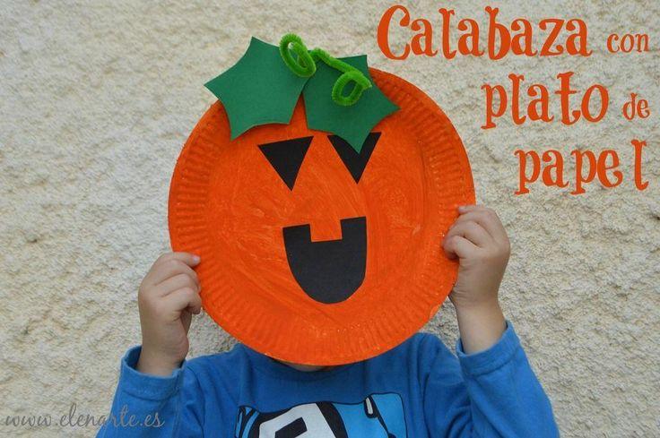 Calabazas de Halloween con un plato de papel: ¡Manualidades para niños!                                                                                                                                                      Más