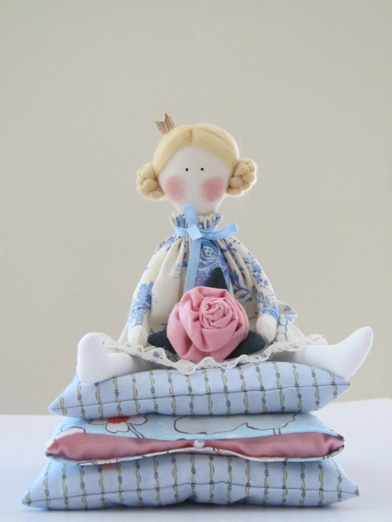 Lovely cloth doll, Fairy tale doll Princess and the Pea in blue and white dress,blonde with a rose,handmade fabric doll -