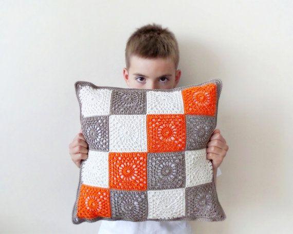 Granny square crochet pillowcase orange brown throw by DiaCrochets