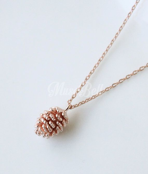 Dainty pine cone pendant necklace in rose gold.  - new - pendant : approx 8x10mm / 0.31x0.39 - rose gold plated over brass  You can select an option for