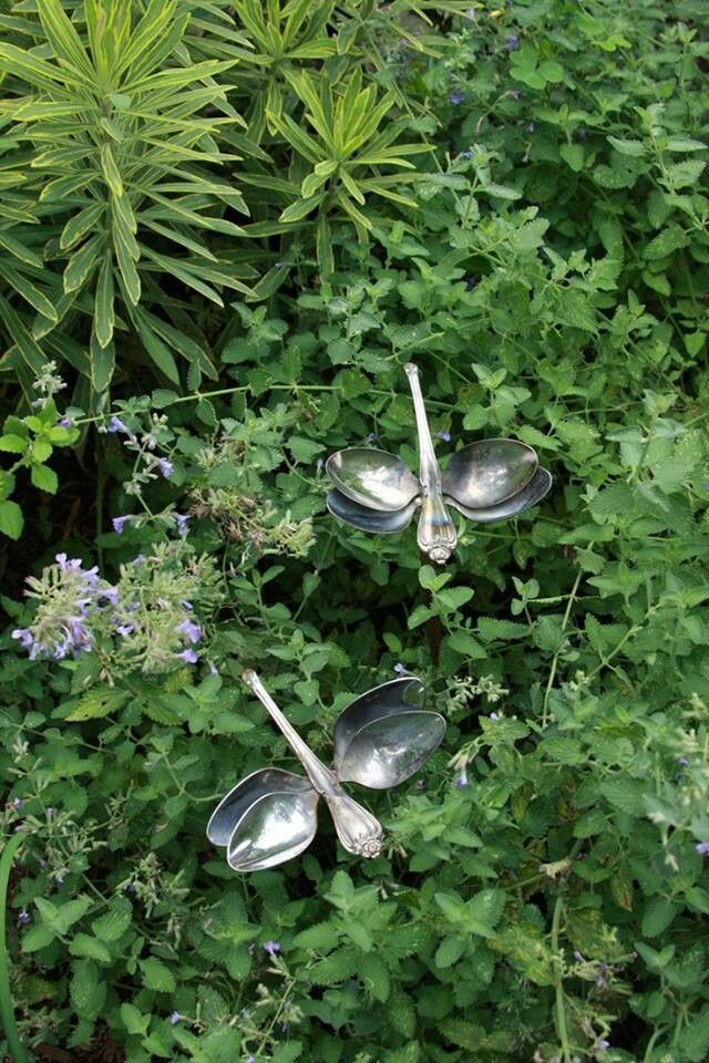 Garden Art From Junk Dishes | Spoon dragonflies More