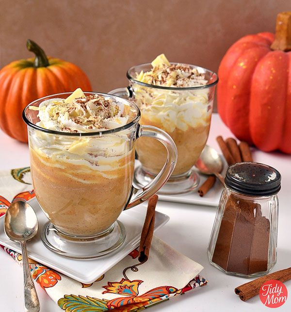 Pumpkin Spice White Hot Chocolate from @TidyMom