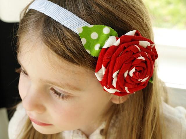 scrap fabric flower headband