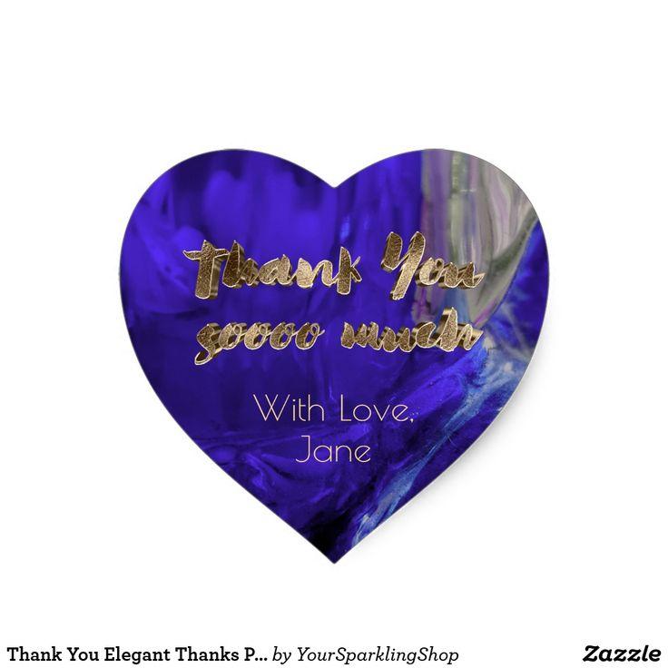#ThankYou Elegant Thanks #Purple Gold Typography #Heart #Stickers