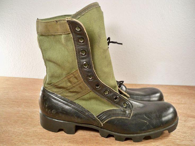 Vintage Vietnam Era Combat Military Leather Spike JUNGLE Men's NAM Boots Size 9 #Addison #Boots