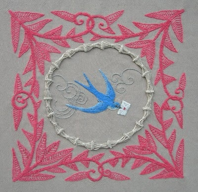 Bluebird of Happiness embroidery.--wrapped center circle