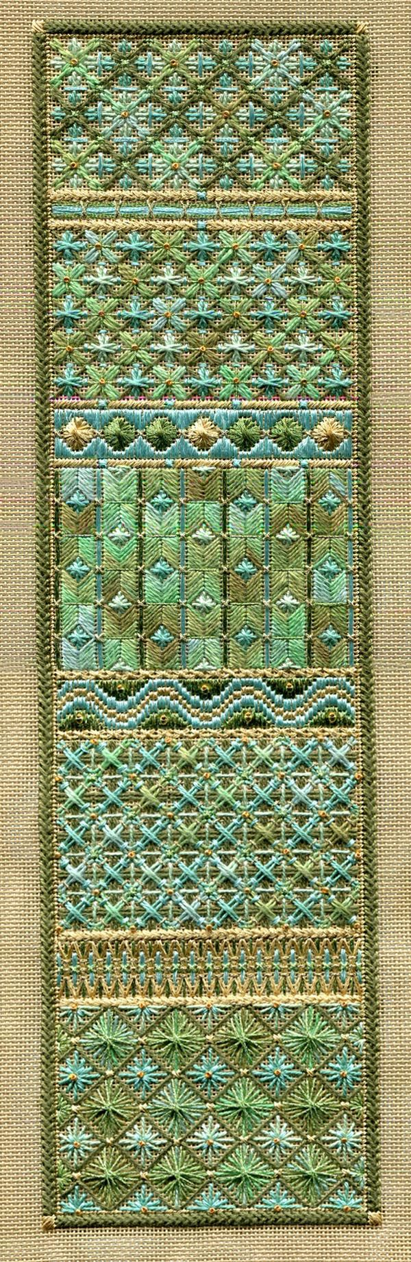 """One Long Panel 4.5"""" x 16.5"""" on 18 ct sandstone canvas Pattern: $16.00 (includes beads ) - by Laura J Perin Designs"""