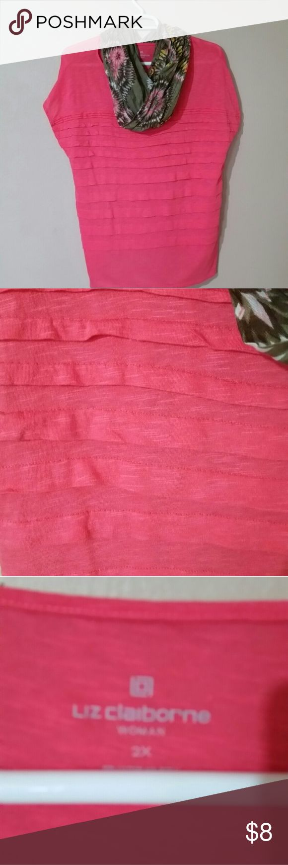 Coral top Great bright coral top with layers on the front and none on the back. Scarf not included. worn 1x. Liz Claiborne Tops