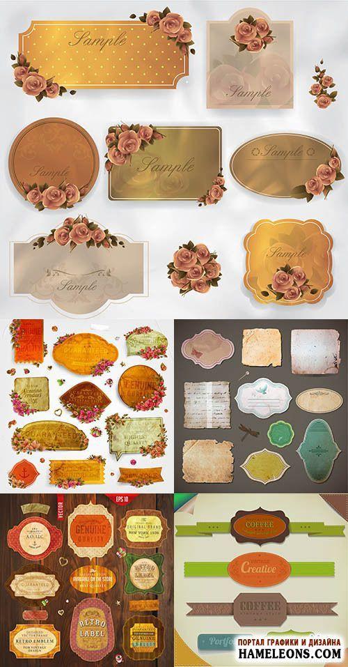 Винтажные этикетки с цветами и лентами - Векторный клипарт | Retro Labels vector