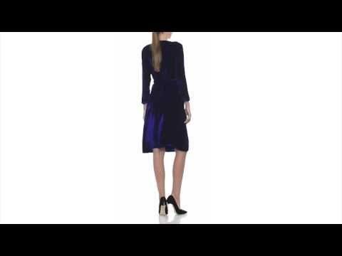 Navy-blue silk velvet wrap dress - Laura Hincu Shop