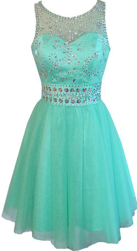 Okaybridal Women's Sleevelss short Beaded Cocktail Prom Dresses at Amazon Women's Clothing store:
