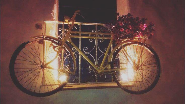 #bicycle #flower #yellow #lights #balcony