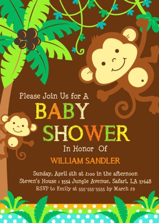34 best baby shower images on pinterest baby shower boys baby free printable monkey baby shower invitations filmwisefo Image collections