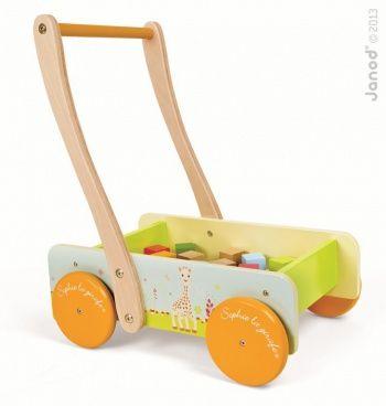 Wózek, chodzik z klockami Janod - Żyrafa Sophie
