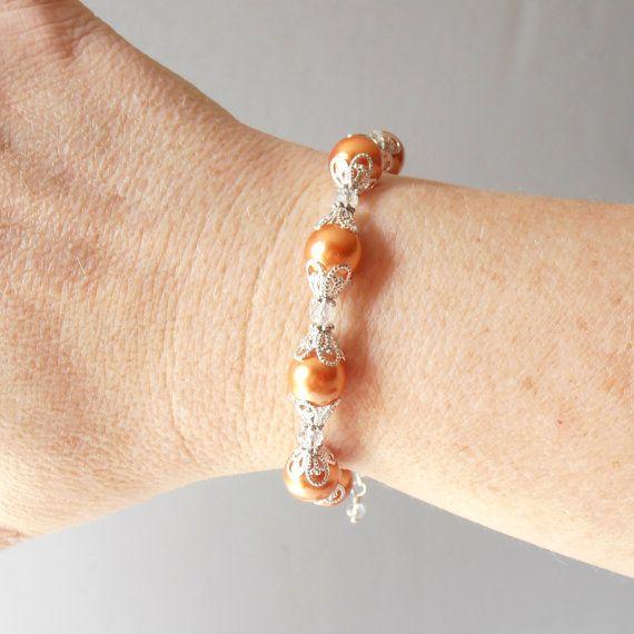 Arancione bracciale di perle Parure mandarino da di FiveLittleGems
