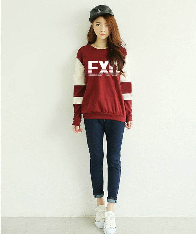 EXO brand same sweatshirts women cotton stitching sleeve wine red hoodies spring and autumn letter print EXO outwear for ladies