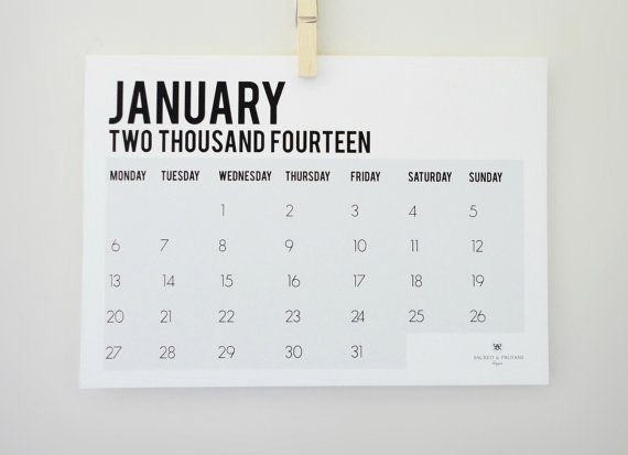 Calendar Month Design : Two thousand fourteen monthly calendar by
