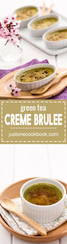 Green Tea Creme Brulee (抹茶クレームブリュレ)   Easy Japanese Recipes at JustOneCookbook.com