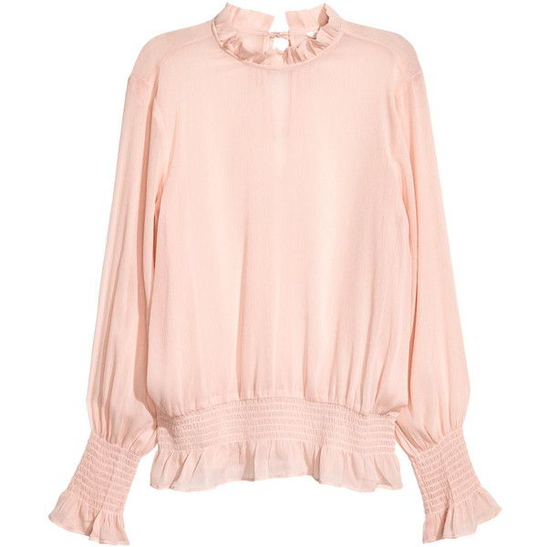 Crinkled Chiffon Blouse $24.99 (94 SAR) ❤ liked on Polyvore featuring tops, blouses, ruffle-collar blouse, pink ruffle blouse, frilly blouse, smock top and pink ruffle top