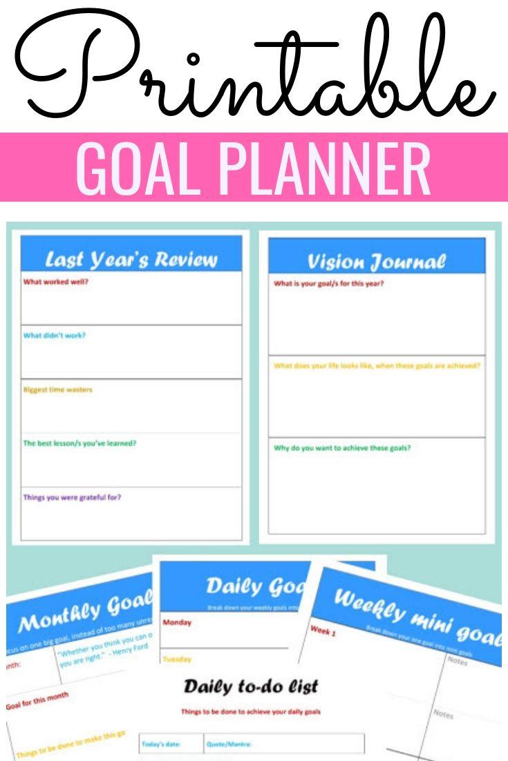 Goal Planner 2020 Printable Goals Planner Planner Tips