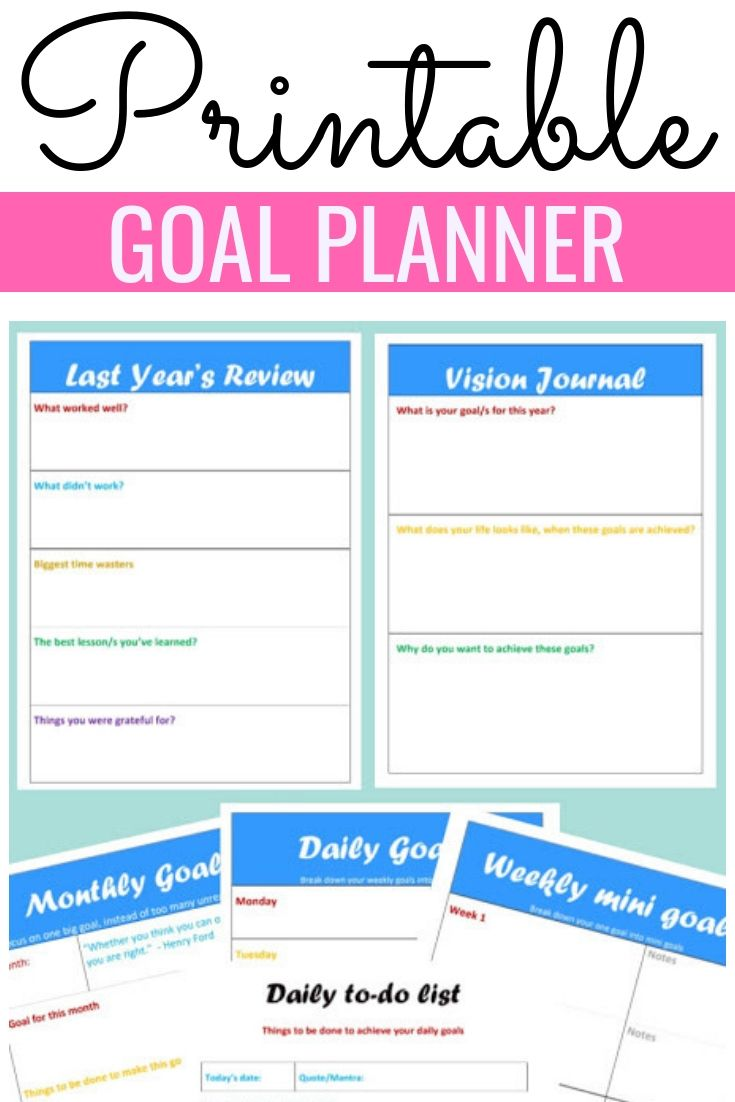 Goal Planner 2020 Printable Goal Planner Printable Goals