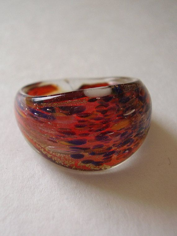 Ring Murano Glass Blue & Red on Gold Foil Background Plain