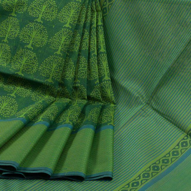 Buy online Hand Block Printed Green Maheshwari Silk Cotton Saree With Floral Motifs & Striped Pallu 10013617
