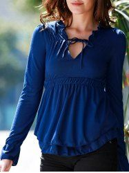Stylish Plunging Neck Long Flare Sleeve Solid Color Elastic Waist Blouse For Women (BLUE,XL) | Sammydress.com Mobile