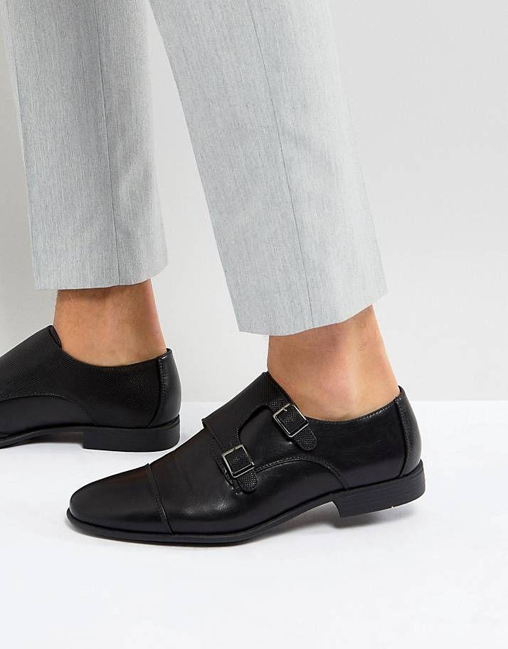 Buty Meskie Meskie Obuwie Na Co Dzien I Buty Wizytowe Asos In 2020 Monk Strap Shoes Black Faux Leather Kicks Shoes