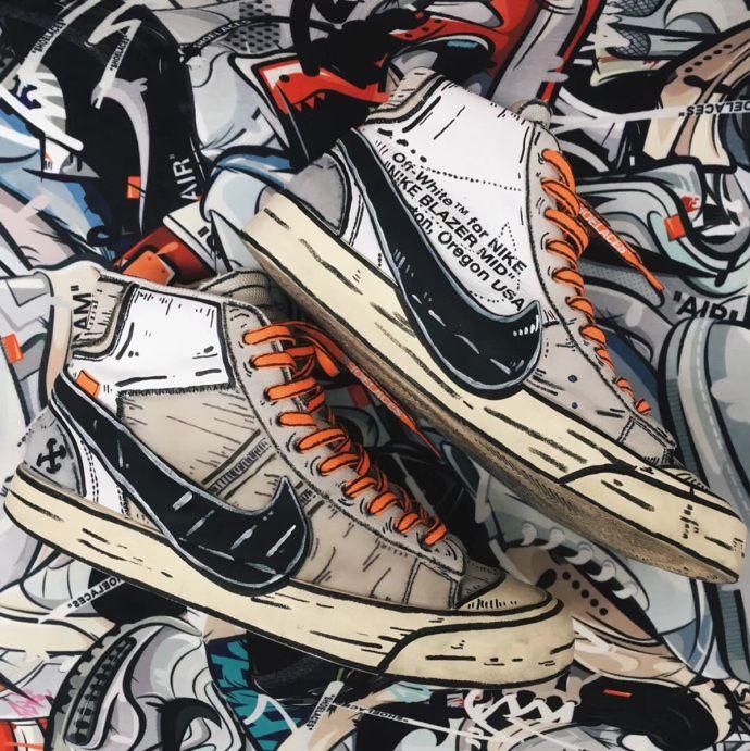 a152aef99f8 Surreal Anime Culture Sketch OFF-WHITE x Nike Blazer Studio Mid Custom