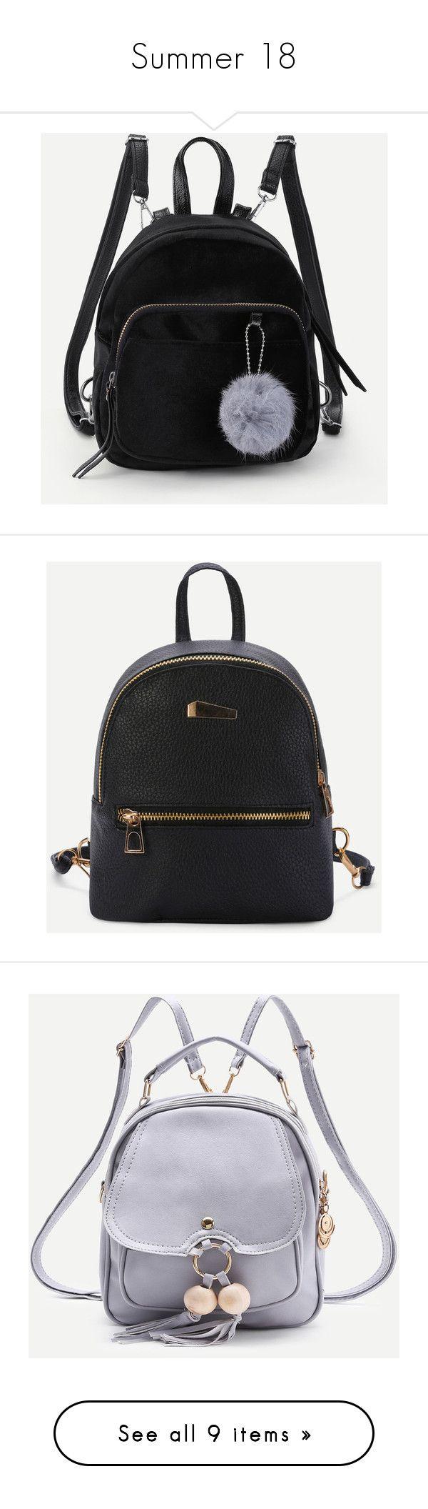 """Summer 18"" by raijienamoy ❤ liked on Polyvore featuring bags, backpacks, black, rucksack bags, decorating bags, backpack bags, velvet backpack, daypack bag, day pack backpack and knapsack bag"