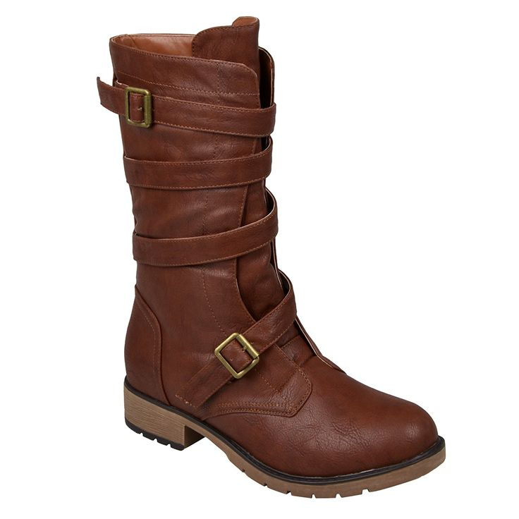 Brinley Co. Womens Mid-Calf Buckle-Strap Motorcycle Boots >>> You can get more details by clicking on the image.